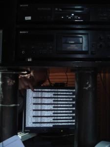 Het scherm in de studio.