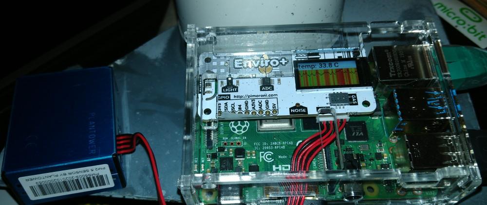 Links PM sensor, midden raspberry pi met bovenop wit envori+ bord, rechts netwerk en usb aansluitingen
